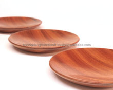 afforable wooden round plate for restaurant/ around plate made in tradtional village