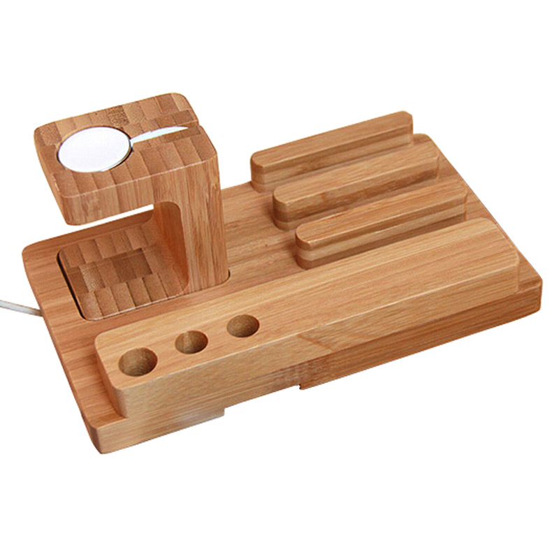 Bamboo Wood Charge Dock Holder for Watch and Docking Station Cradle Bracket for iPhone and Smartphones and Table