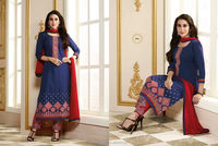 Blue Poly Cotton kameez with Straight Pant. 4351 Kar-1