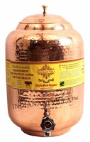 Pure Copper Hammered Water Pot Tank Container with Tap 5500 ML - Home, Hotel, Restaurant, Good Health, Benefit Yoga, Ayurveda