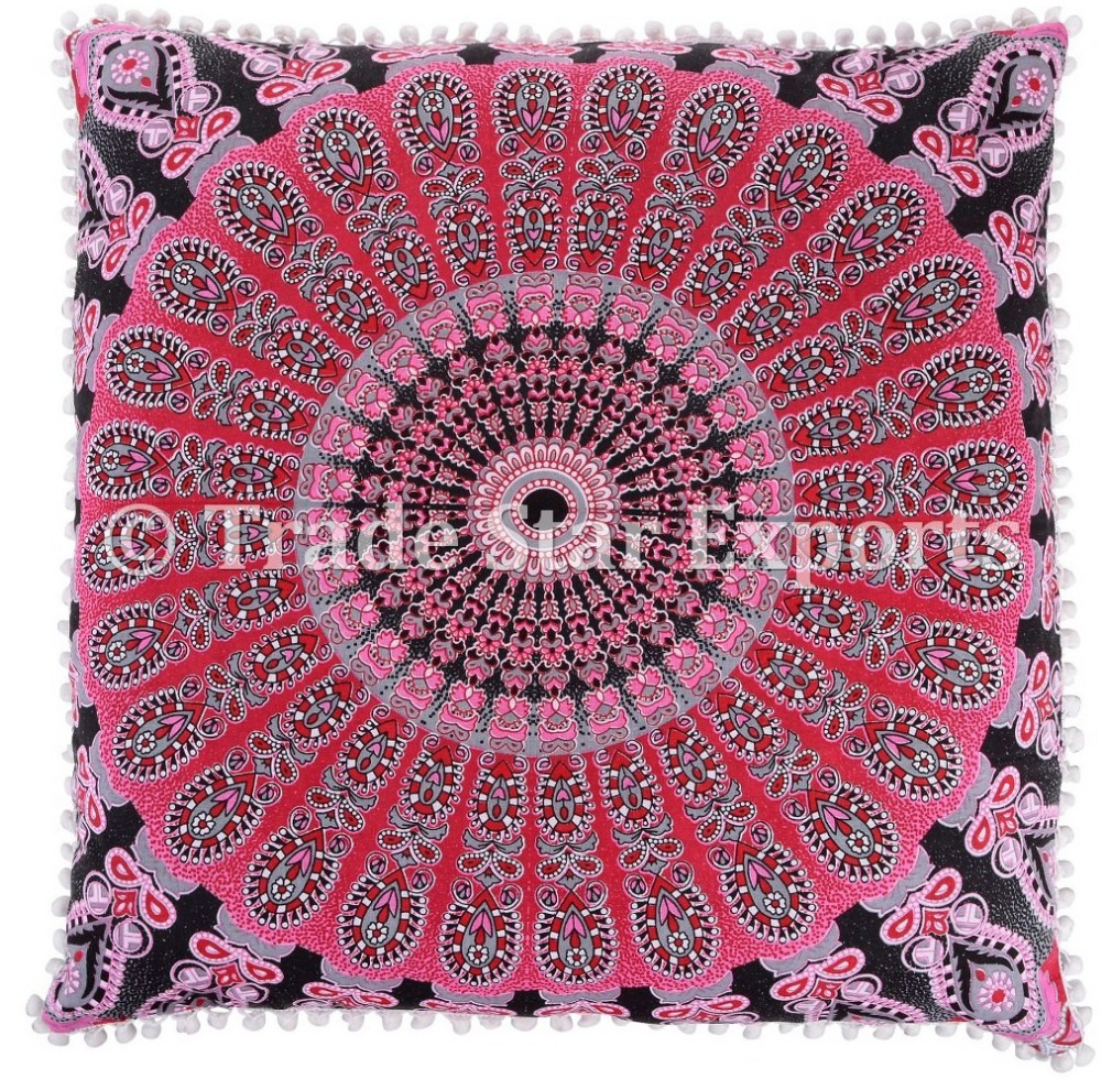 Indian Ethnic Square Euro Sham Cotton Pillow Cover Meditation Cushion Cover Throw