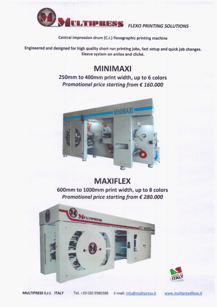CENTRAL IMPRESSION DRUM (C.I.) FLEXOGRAPHIC PRINTING MACHINE
