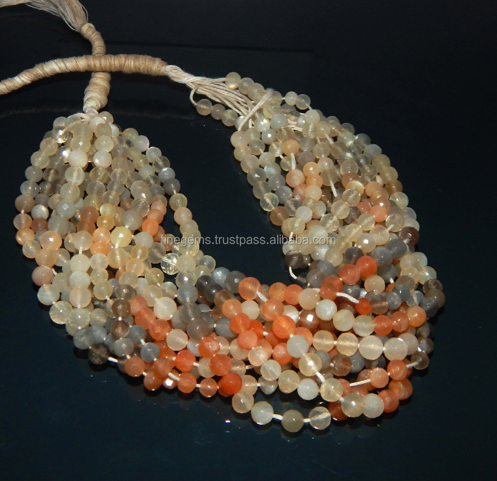 Natural Multi Moonstone faceted Beads