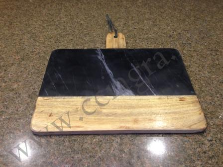 Black Marble & Wood Cheese Cutting Board Serving Plate Chopping Block