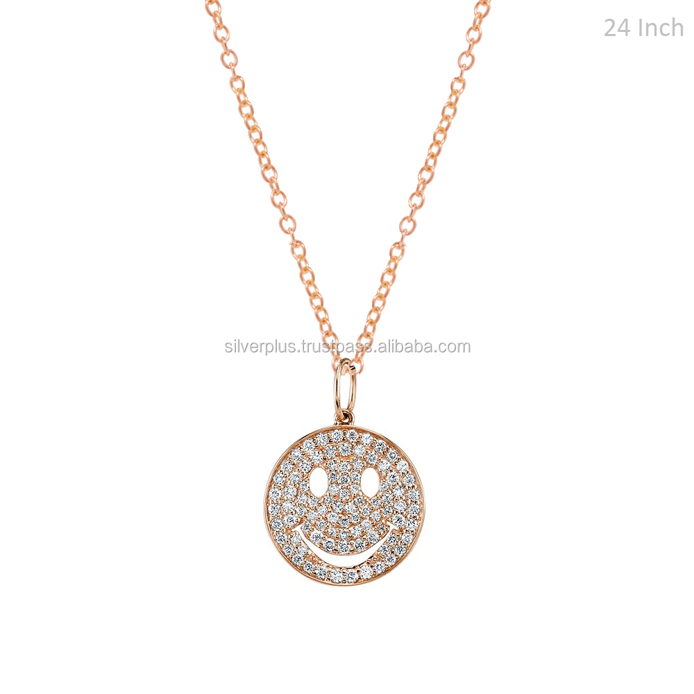 "14k Rose Gold 0.32 ct Diamond 15 mm Smiley Face Charm Necklace Including 24"" Chain"