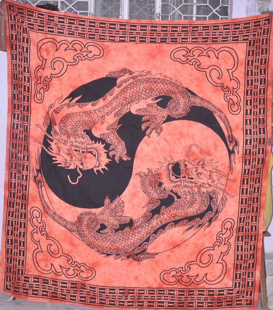 100% Pure Cotton Twins Dragon Contemporary Style Wall Hanging Tapestry