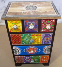 Colorfull Hand Painted Multi Drawers Wooden Storage Side Cabinet