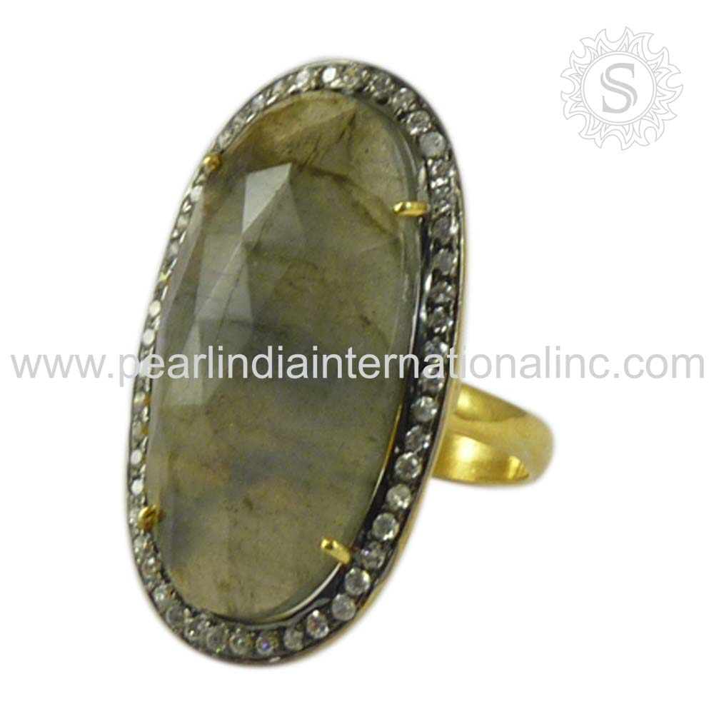 Scrumptious Labradorite,White CZ Gemstone Ring For Women 925 Sterling Silver Jewelry Manufacturer Wholesale Silver Jewellery