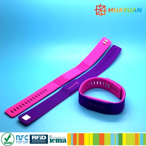 13.56MHz Colorful and Adjustable ISO14443A MIFARE Plus SE 1K Soft Silicone RFID Wristband