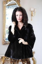 Mink Fur Jacket, Black color with Sable fur hood