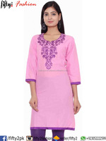 COTTON LONG BABY PINK KURTI 3/4 WITH NECK EMBROIDERY 2016