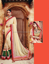 Off White Georgette On Net Sarees Online Buy