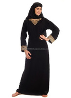 BLACK ABAYA WITH NECK AND SLEEVES GOLDEN EMBROIDERY