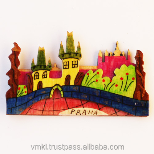 Prague magnet fridge, handpainted souvenir magnets cities, personalised fridge magnet with your image, GH2-20