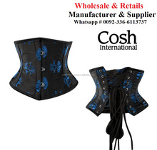 CORSET WHOLESALE : Underbust Black Brocade With Blue Patches Double Steel Boned Corset Supplier