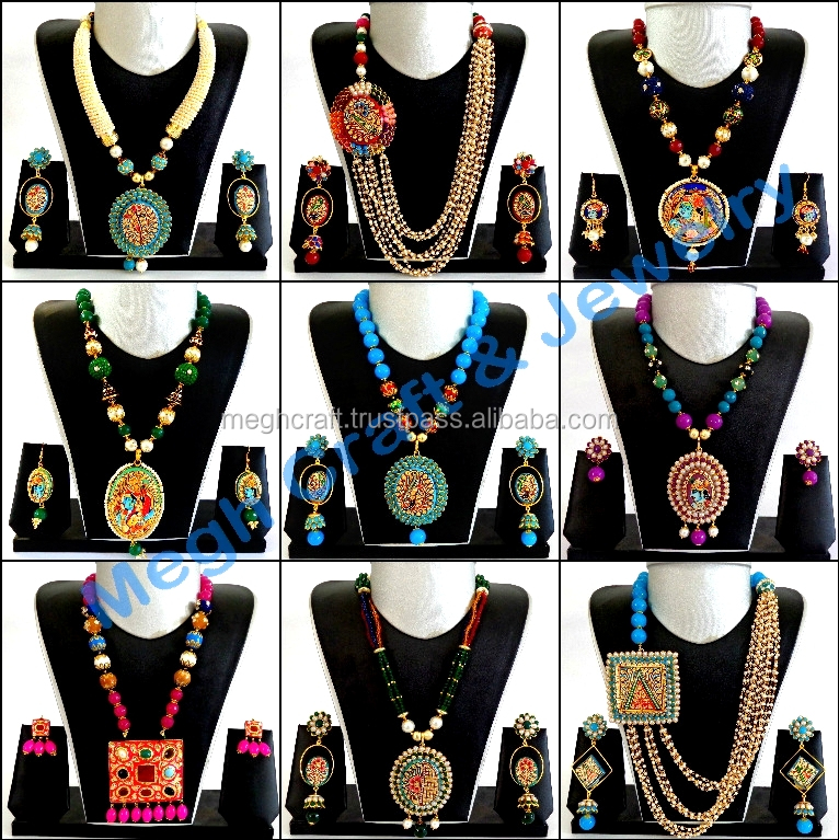 Traditional Indian Handmade tanjore art jewelry - Wholesale fashion wear jewelry - Exclusive tanjore pearl pachi necklace set