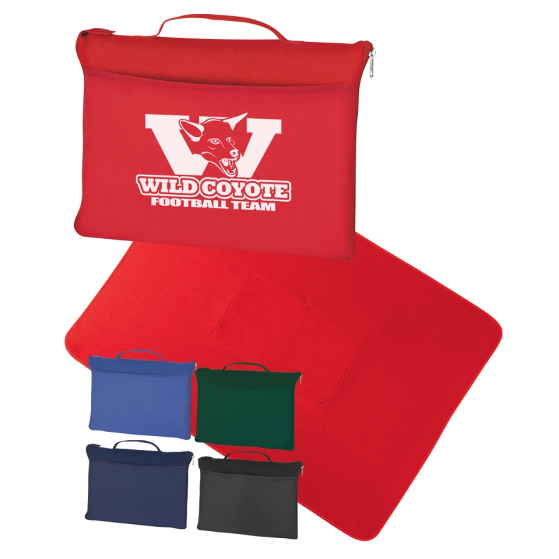 "Fleece Travel Blanket - made from polyester fleece, measures 51"" x 63"", has a self-contained bag and comes with your logo"
