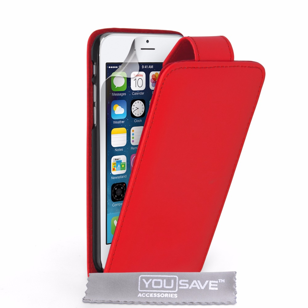 Flip Case Cover PU Leather for iPhone 6 Red