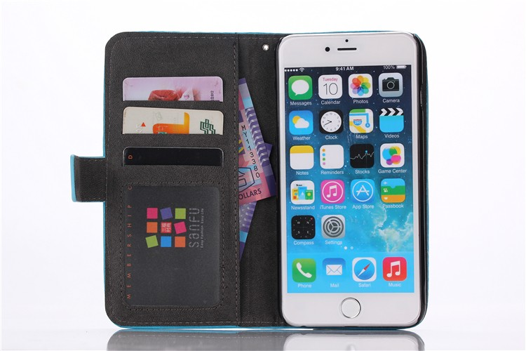 2 in 1 high quality PU magnet case for iphone6/6s with 3 card slots wallet case for mobilephone