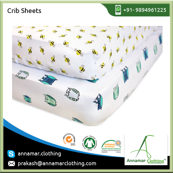 High Quality 100% Cotton Cartoon Printed Baby Fitted Crib Sheet Available at Low Price