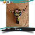 Wholesale Artificial Skull Cow Head Hand painted Flower Tribal Abstract