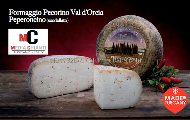 High Quality Aged ITALIAN CHILLI PEPPER PECORINO cheese , 100% Italian sheep's milk