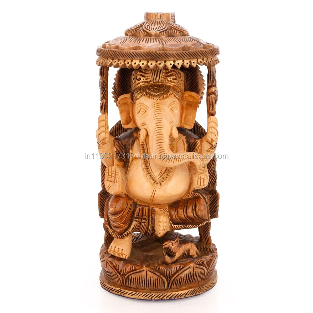Wood hand carved Statue Lord of Success God Ganesha Idol Religious Hindu Elephant Decor Art