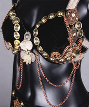 Black Beauty Bra Belt set Made from turkaman buttons ,coins and brass jewels