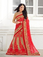 Red color net saree with Stone work Designer fancy lace border saree with dupion silk blouse pics.