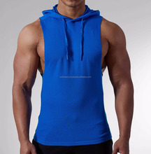 Men Muscle Hoodies Cotton Sleeveless Workout Stringer gym hoodie