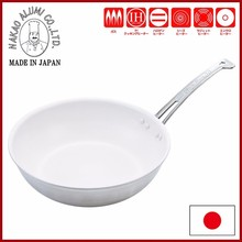 "King Freon Titanium Coated Deep Frying Pan (Snow-white) - Nakao Alumi ""King Freon"" made in JAPAN"