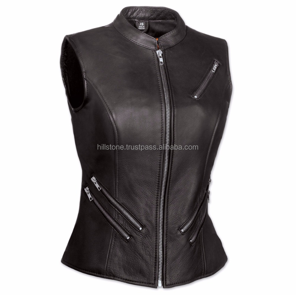 Wholesale Fashion Girl Sex Vest Leather Vest For Motorcycle Club