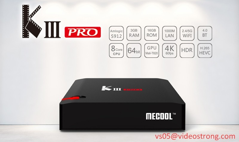 Widevine L1 Android 7.1 os 3GB DDR play store KIII Pro S912 Combo DVB S2 T2 zgemma 4k satellite receiver