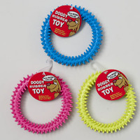DOG TOY 4.5IN RUBBER RING WITH SPIKES 3 COLORS IN PDQ #66961P
