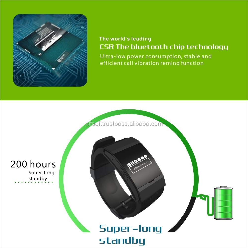 SIFWATCH-3.1 Bluetooth Watch Activity Tracker. Super Long Battery Life Pedometer, Phone Call Reminder, Display Caller Name.