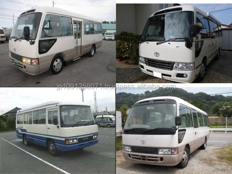 Durable and Japanese toyota coaster bus used with good fuel economy made in Japan