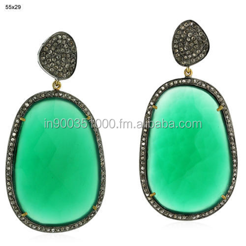 Natural Green Onyx Gemstone Pave Diamond Handmade Fashion Dangle Earrings 14k Gold Sterling Silver Jewelry Wholesaler Supplier