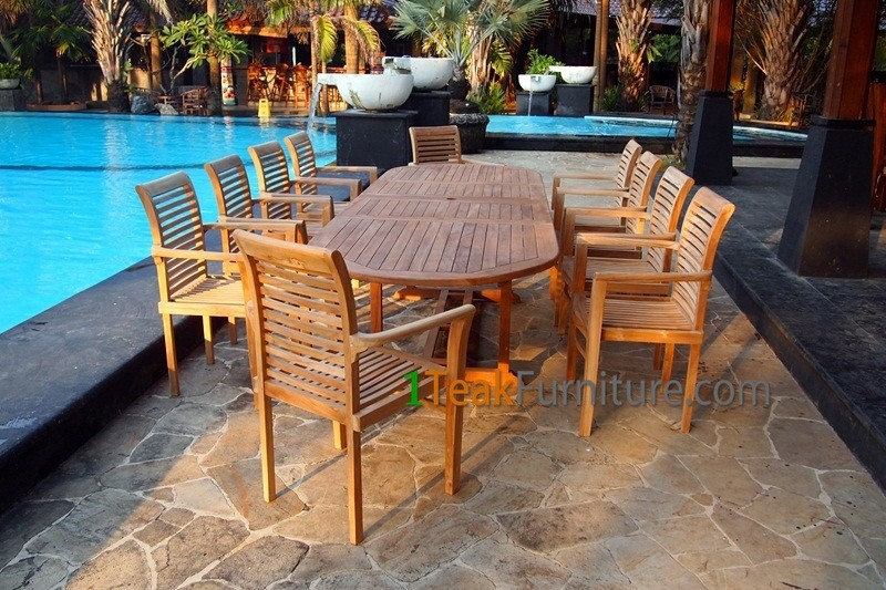 Nice Teak Garden Sets Big Oval Table 10 Stacking Chairs - Teak Furniture for Restaurant