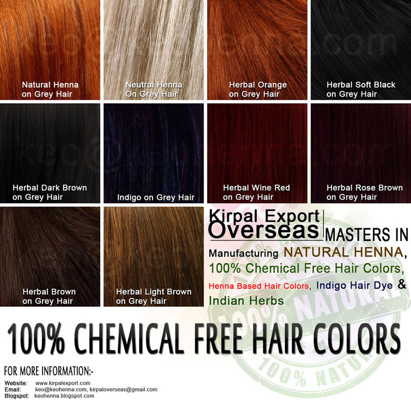 Henna and herb blended chemical free hair colours