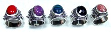 Big Gemstone Artison Desing 5 Pcs Combo Lot 925 Sterling gems Rings From India - SYR023