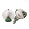 925 Sterling Silver Pave Tsavorite Pearl Cufflinks Finding Jewelry Supplier