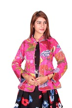 Cotton Quilted Reversible Fruit Print Kantha Jacket
