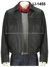 Winter Finished Cow Hide Genuine Leather Jacket for Men