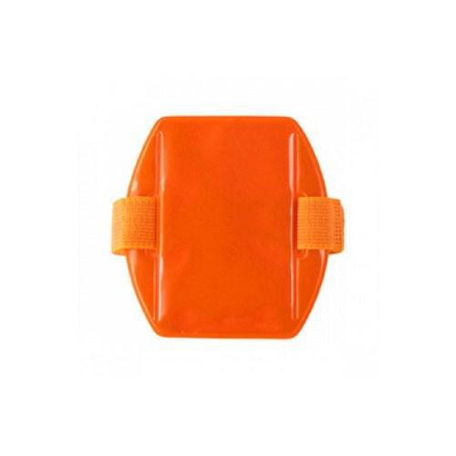 Brady People Id R504-ARNO, Orange Vertical Arm Band Badge Reflective Holder with Orange Strap