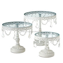 metal white finished antique crystal hanging wedding cake stand