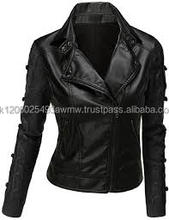 Motor Bike Motorcycle Biker Leather Vintage Jacket For Ladies Women Fashion Casual Outer Wear Coat
