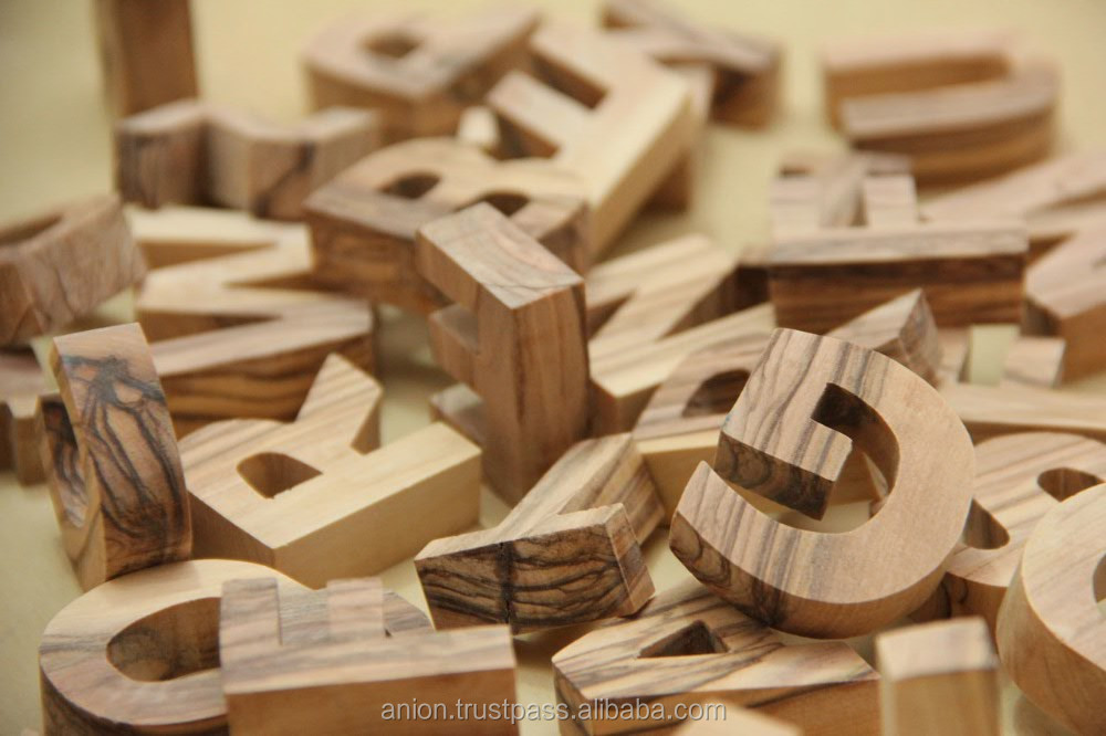 Olive Wood Decorative Carved Letters