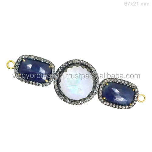 Three piece Blue sapphire gemstone connector pave diamond finding jewelry wholesale 925 silver connector