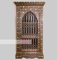 Indian Iron Grill Fitted Antique Wooden Almirah
