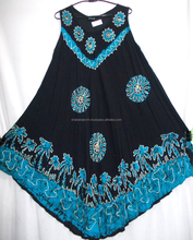 Hot Selling trendy long maxi in sexy black and blue colour Umbrella Dress indian origin 100% Rayon Crepe
